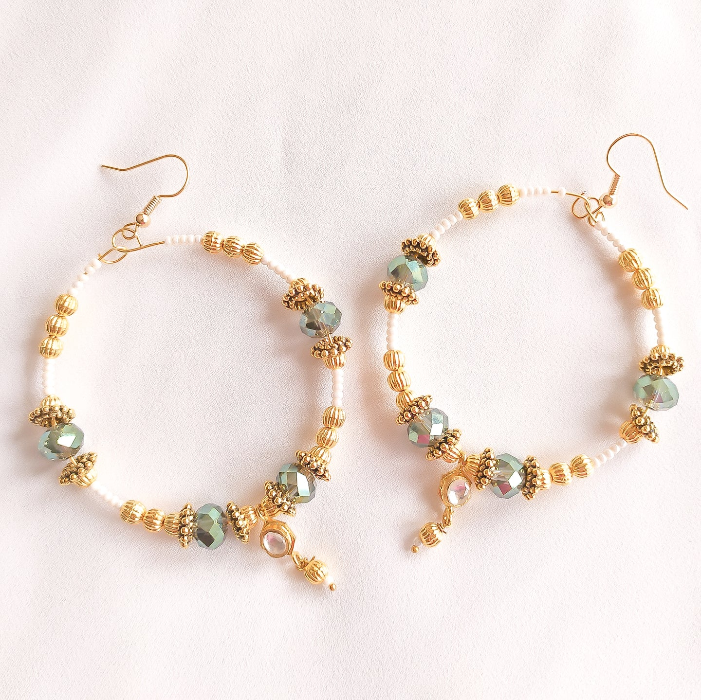 Savannah Kundan Gem Hoop Earrings