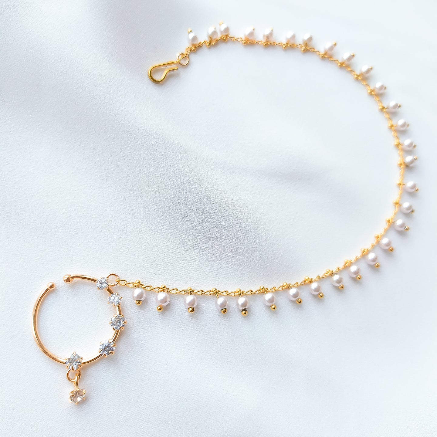Pearl drop Gold Nose Ring