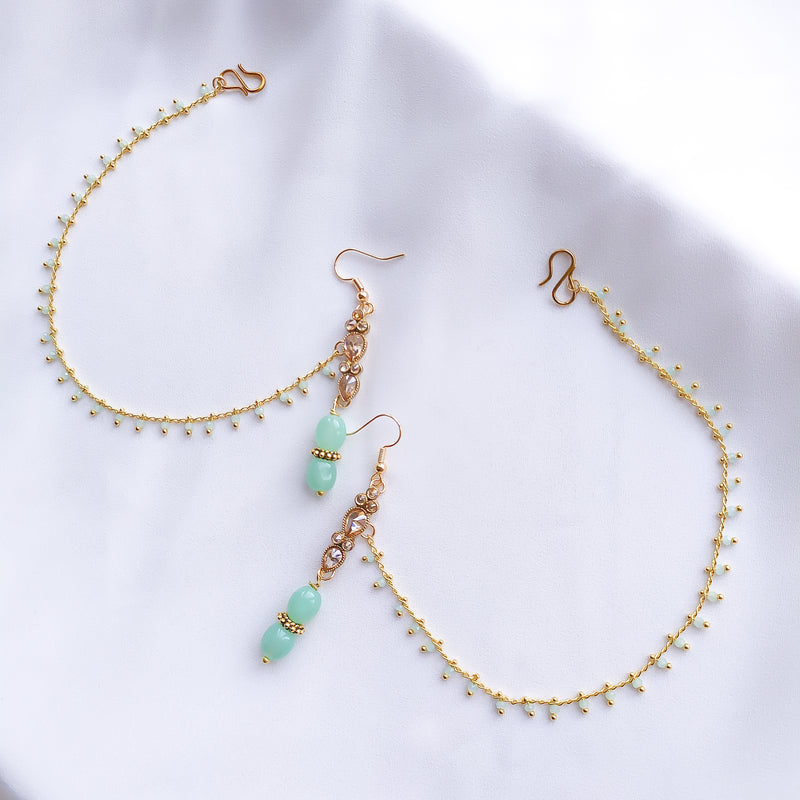 Milani Earrings with Ear Chains - Mint Green