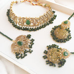 Nura Zircon Choker Set - Bottle Green