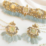 Sample sale : Shifa Bridal Choker Set - Light Blue