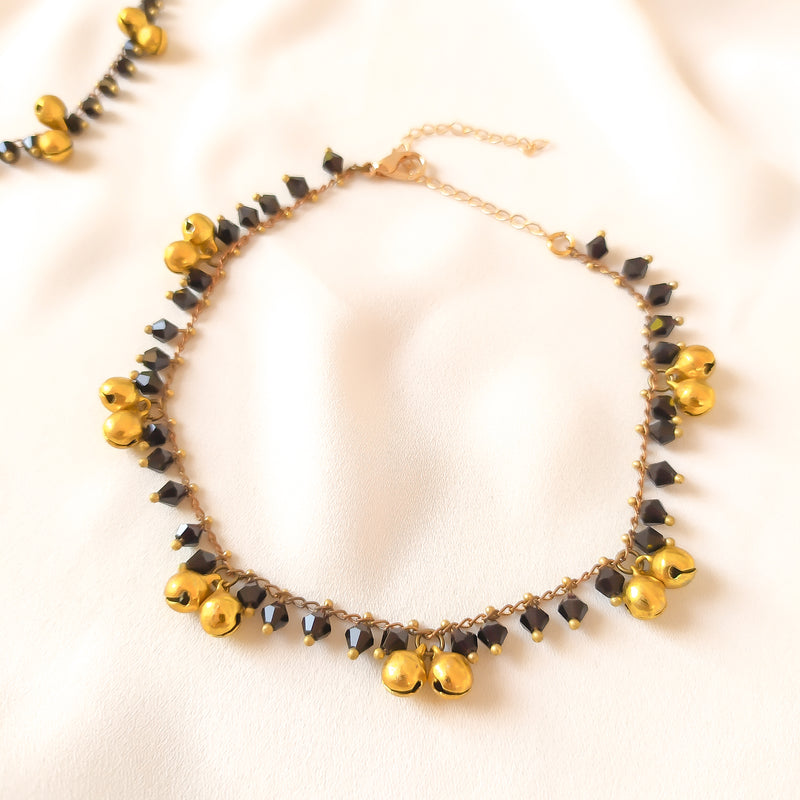 Sarah Beaded and Belled Anklets - Black