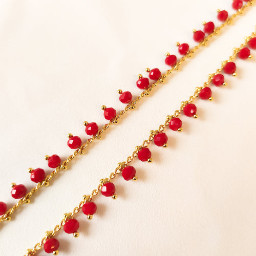 Sarah Beaded Anklets - Cherry Red