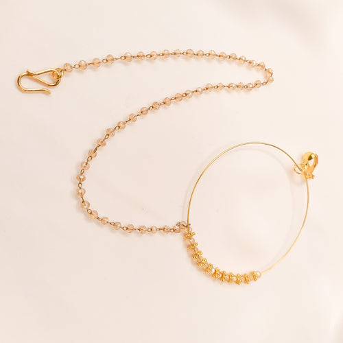 Champagne Bead Nose ring - Clip On