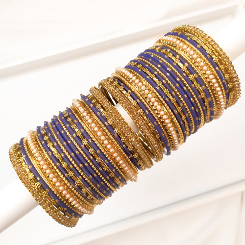 Golden Bangle stack - Navy