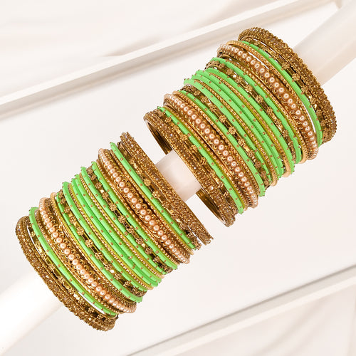 Golden Bangle stack - Mint Green