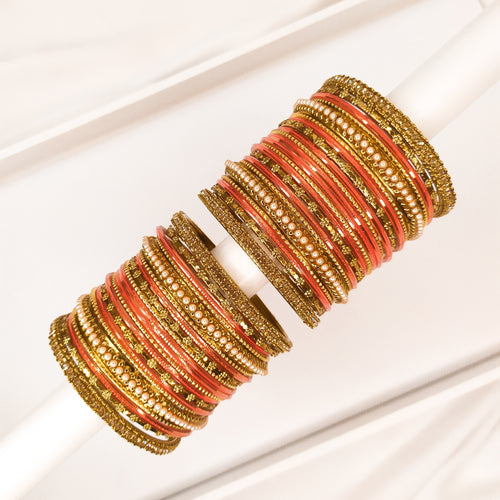 Golden Bangle stack - Orange
