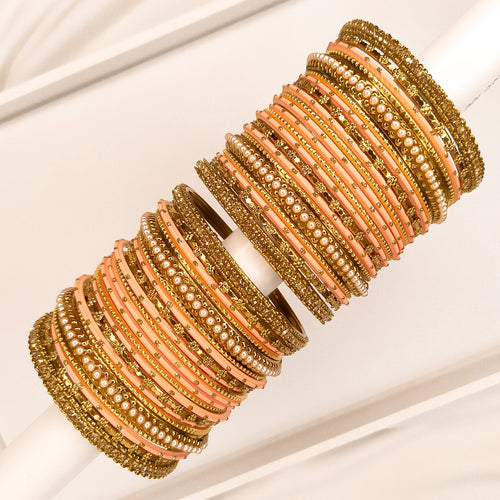 Golden Bangle stack - Peach