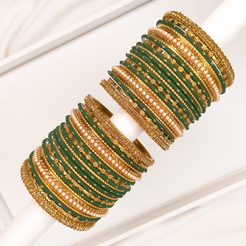Golden Bangle stack - Dark Green