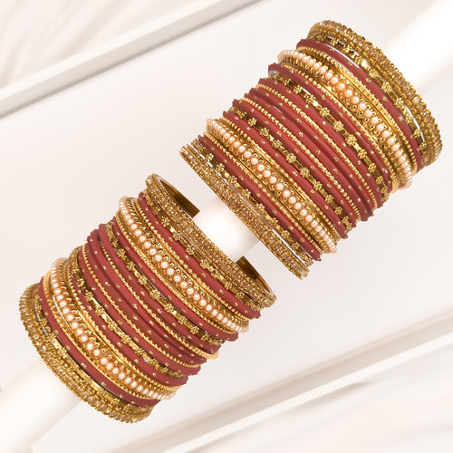 Golden Bangle stack - Burgundy