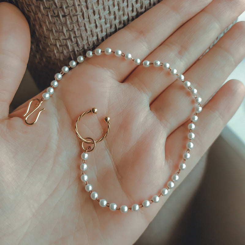 Small Nose Ring - Pearl