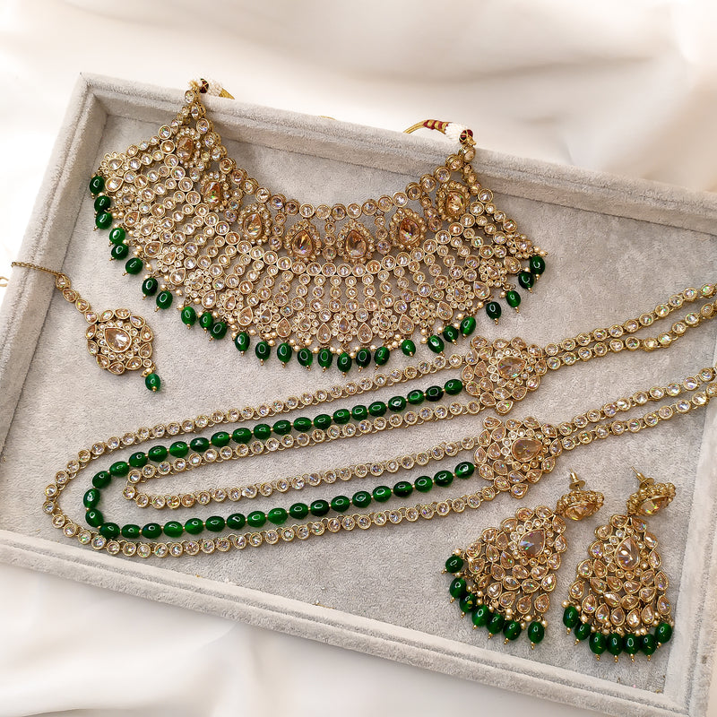 Dark Green Antique Gold Bridal Jewellery Set