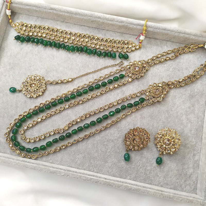Noor Semi Bridal Set - Bottle Green