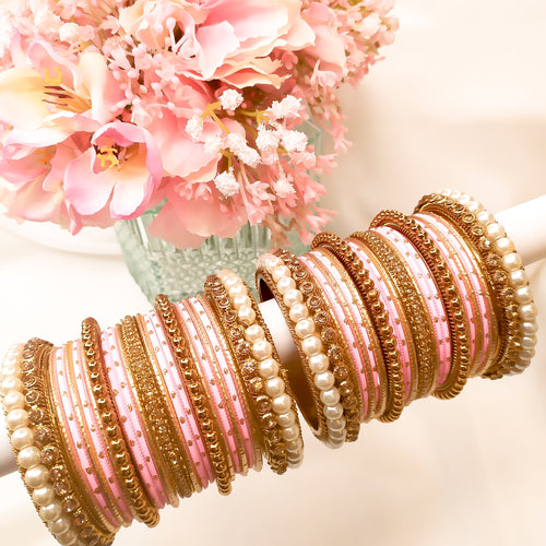 Antique Gold Bangle stack - Light Pink