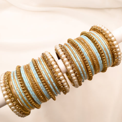Antique Gold Bangle stack - Light Blue