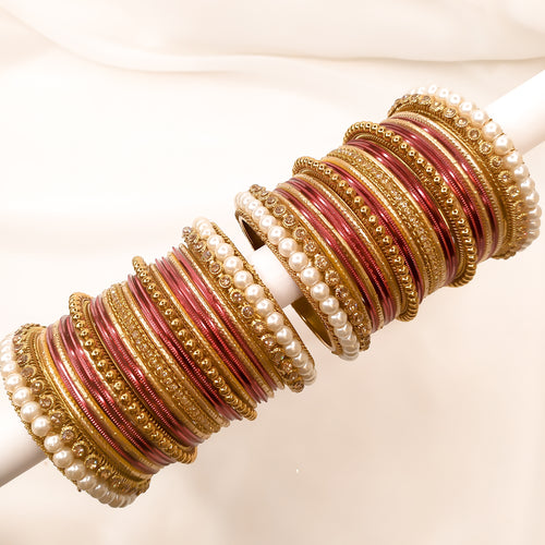 Antique Gold Bangle stack - Maroon