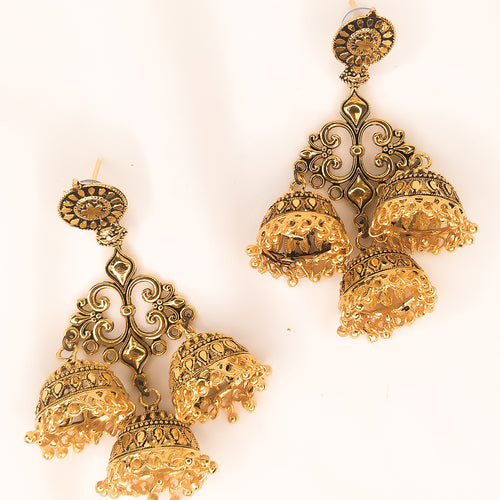 Mandy Jhumka Trio Earrings