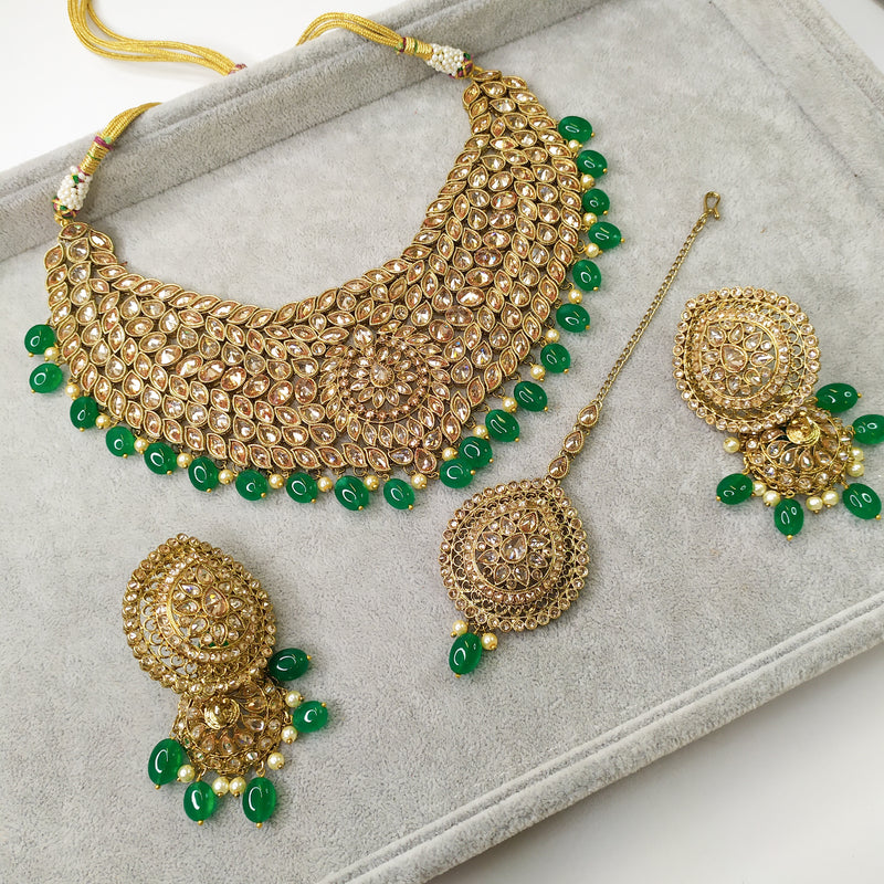 Antique Necklace set - Emerald Drop
