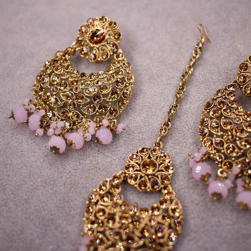 Bali Tikka and Earrings - Pink