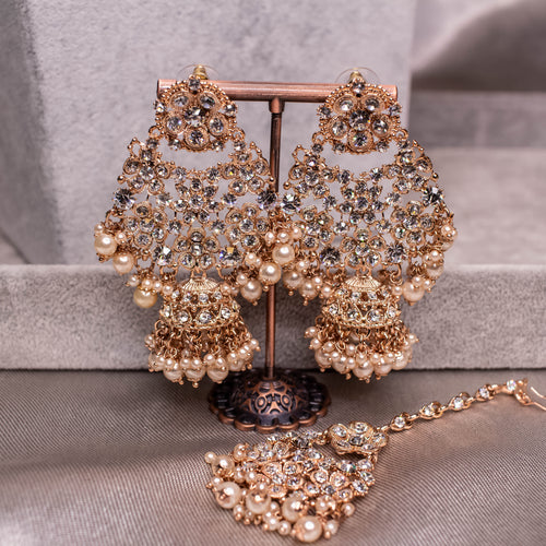 Ziba Earrings and Tikka - Rose Gold