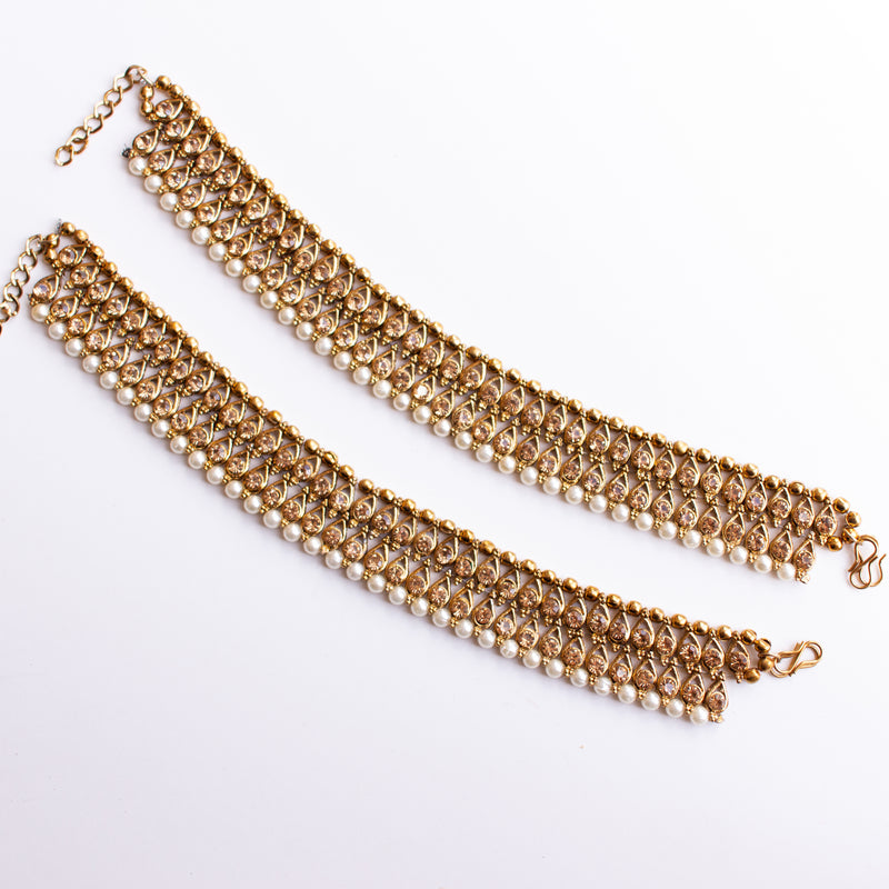 Thick Antique Gold and Pearl Anklets