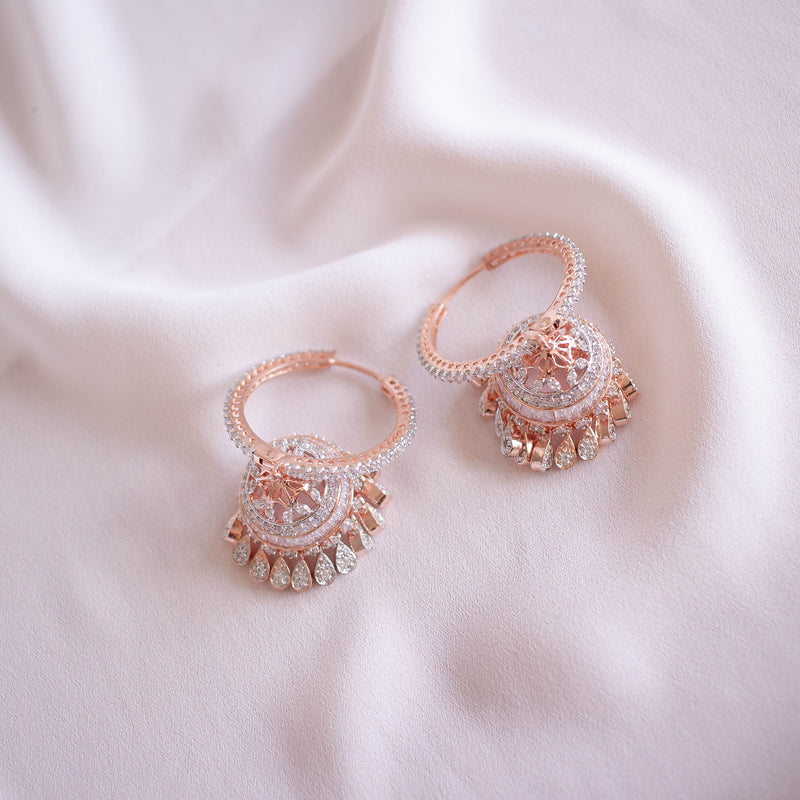Deedee Jhumka Earrings - Rose Gold