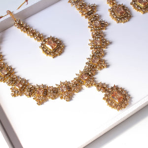 Neelam Bridal Necklace set - Golden