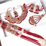 Kiran Bridal Necklace Set - Deep Red