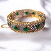 Statement Zircon and Dark Green Bangle Size 2.10 (XL)