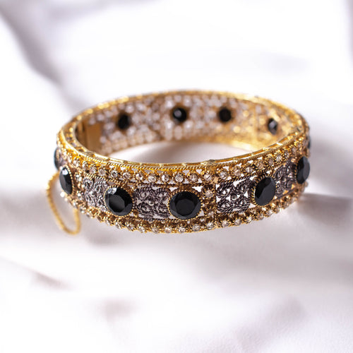 Statement Zircon and Black Bangle Size 2.10 (XL)