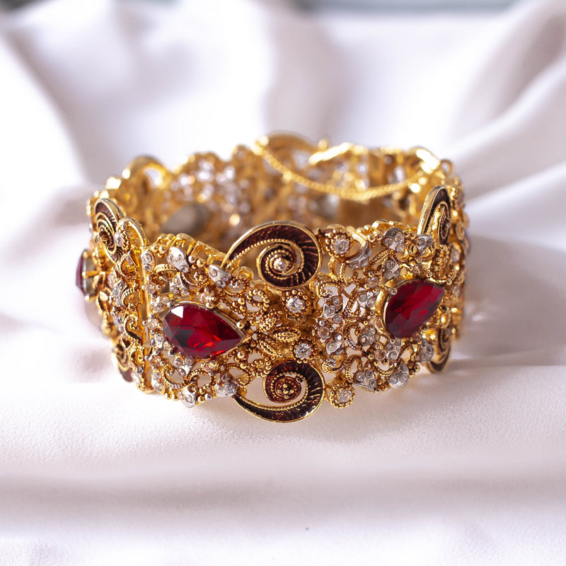 Statement Zircon and Siam Red Bangle Size 2.8