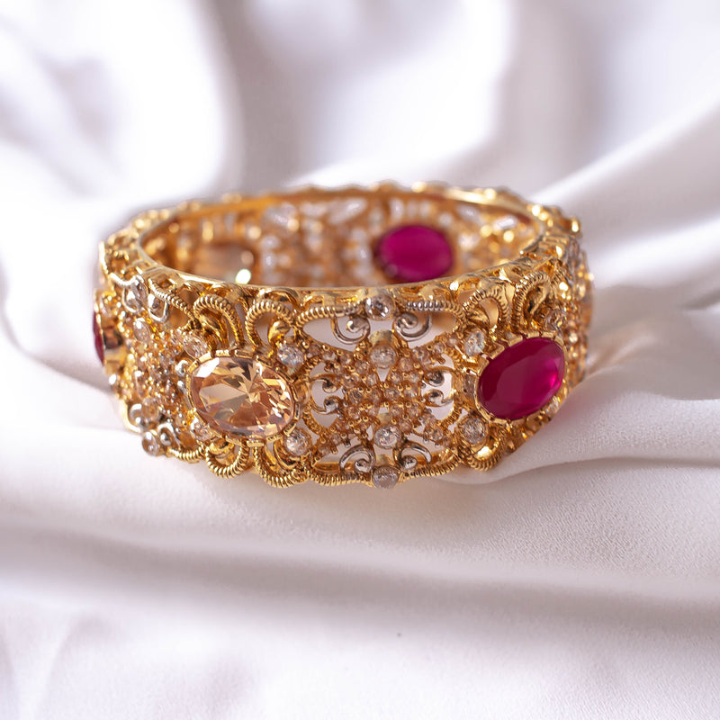 Statement Zircon and Ruby Bangle Size 2.6