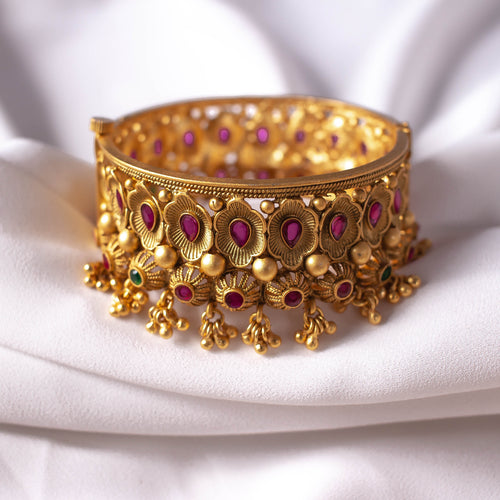 Matt Gold Floral Bangle Size 2.4 (Small)
