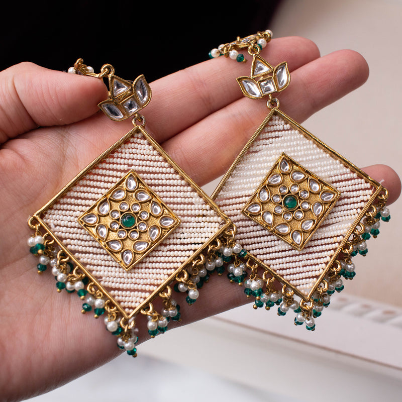 Large Square Bali Earrings - Green