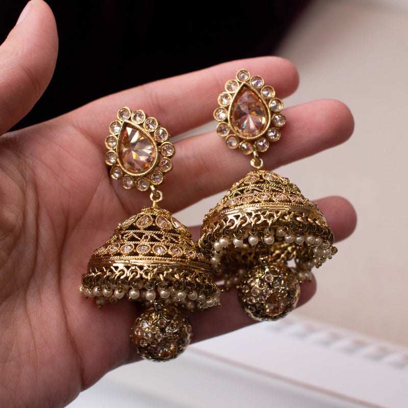 Large Antique Gold Jhumka Earrings