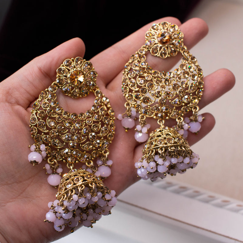 Large Golden Jhumka Earrings - Lilac Pink