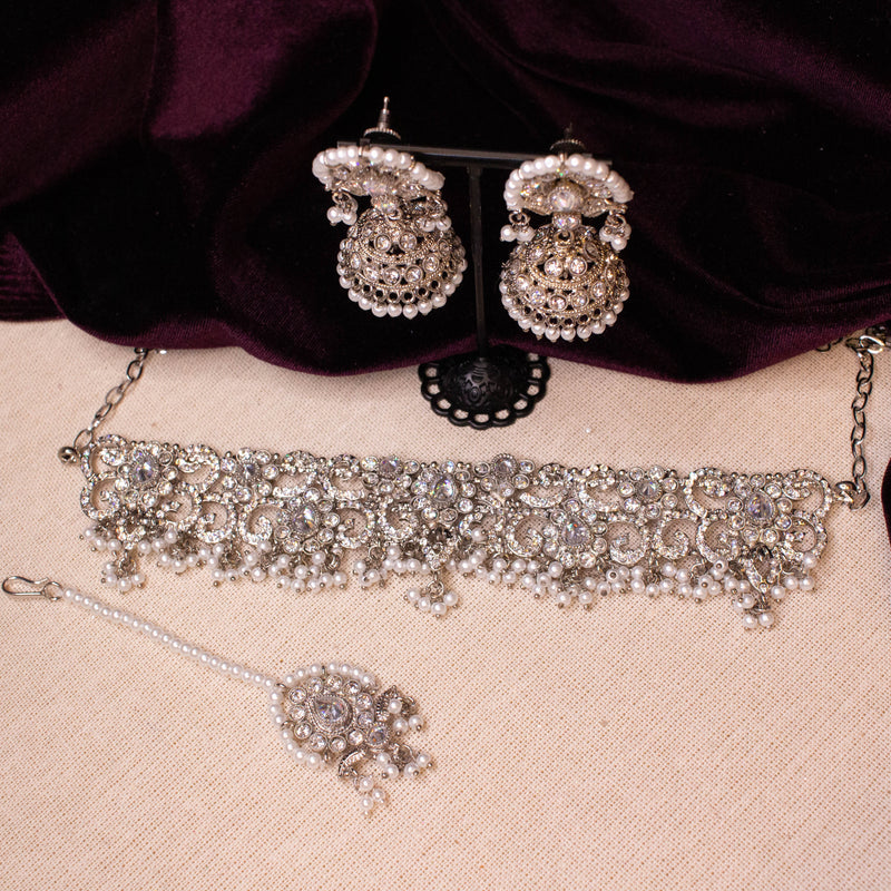 Sharmila Choker Set - Silver