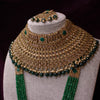 Statement Dark Green Antique Gold Bridal Jewellery Set