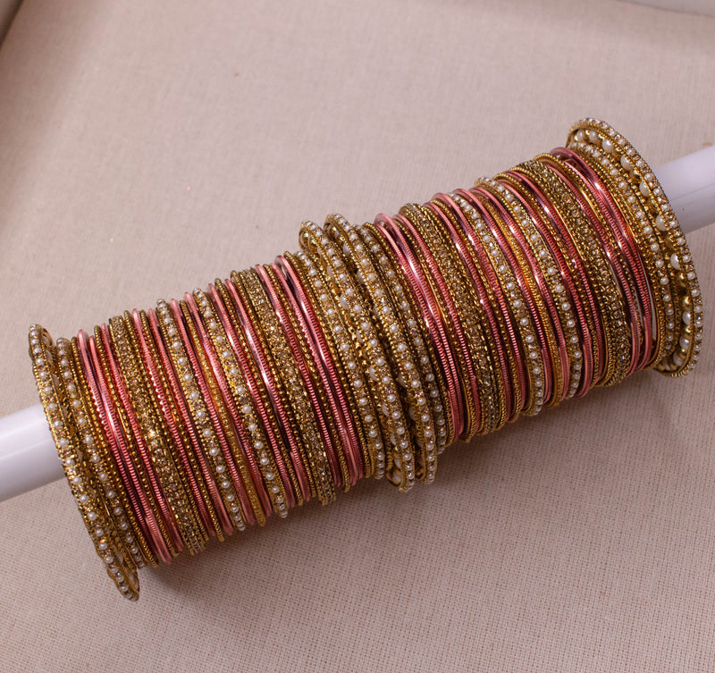 Bridal Bangle stack - Peach