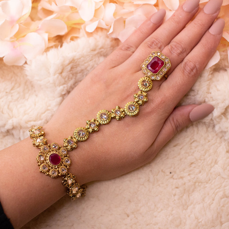 Antique Gold and Ruby Hand Harness