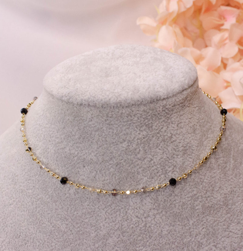 Gold plated Black Bead Necklace