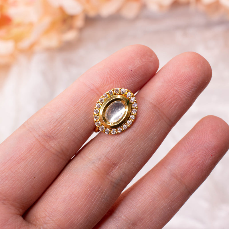 Small Oval Kundan Nose ring