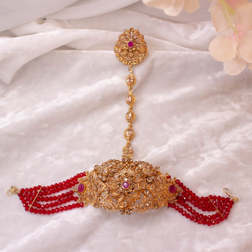 Statement Antique Gold and Red Hand Harness
