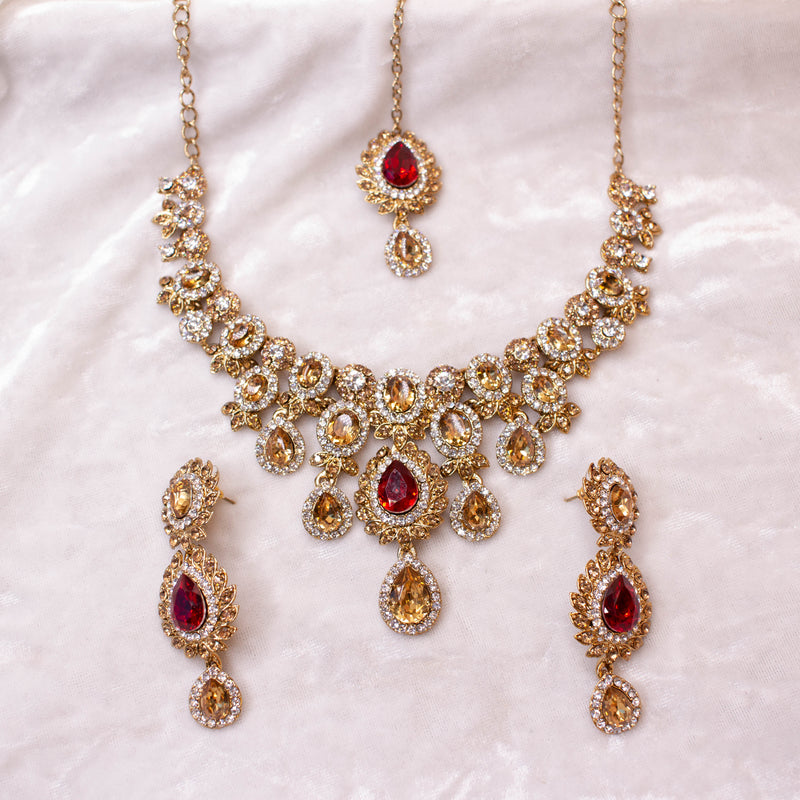 Simran Necklace Set - Red