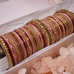 Bridal Bangle stack - Nude/Maroon