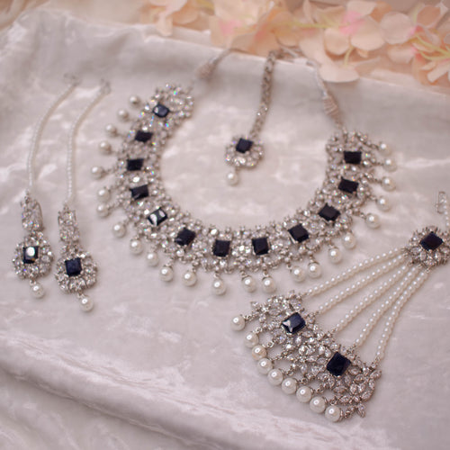 Sophie Bridal Necklace set - Silver/Navy