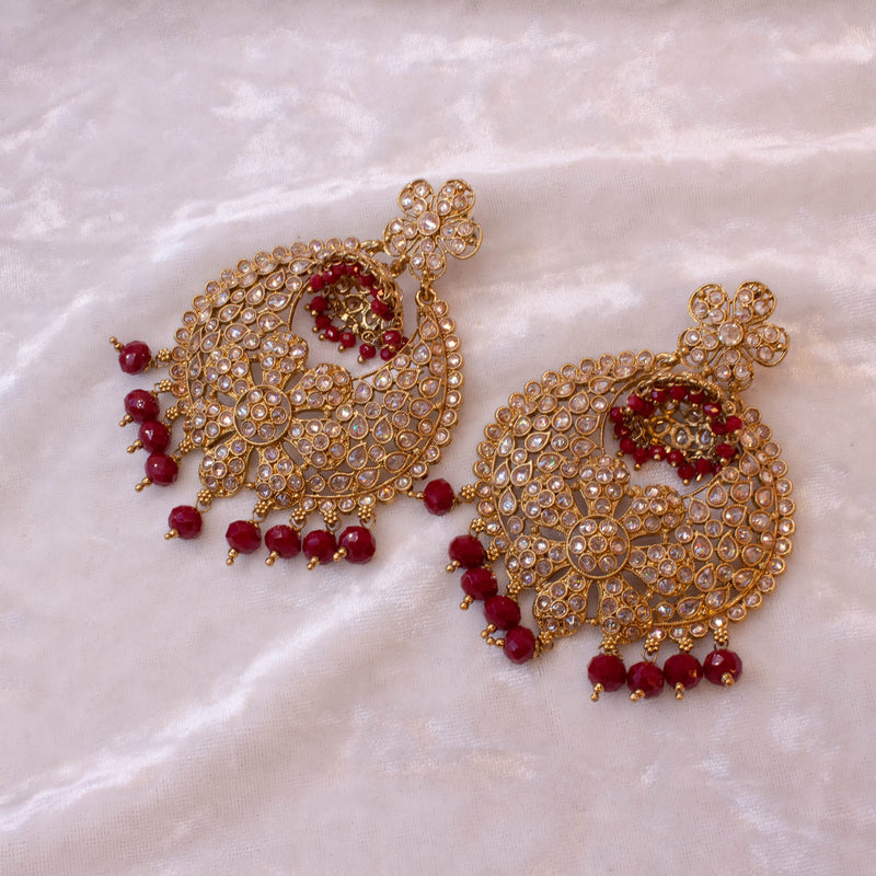 Large Antique Earrings - Maroon