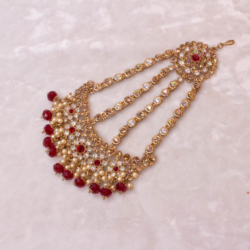 Kiran Bridal Necklace Set - Maroon