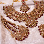 Statement Antique Gold Bridal Jewellery Set - Maroon