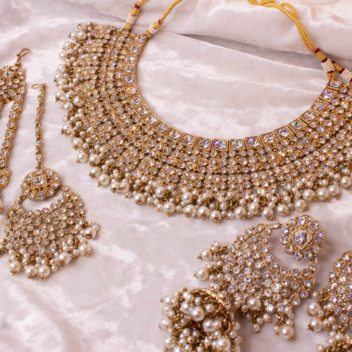 Tahera Bridal Necklace set - Clear Crystal